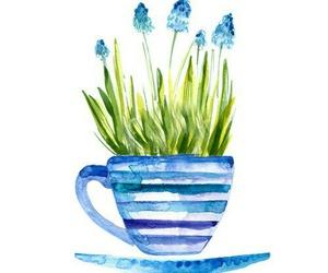 acuarela, azul, and cafe image