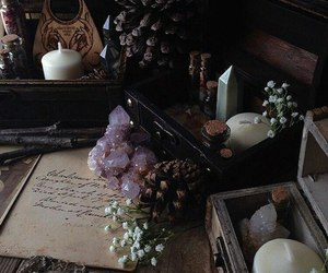 baby's breath, potions, and wooden box image