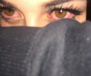 eyes, grunge, and red image