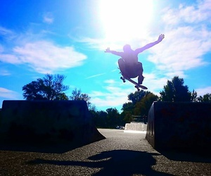 blue, jump, and skater image