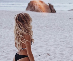 beach, blonde, and hair image