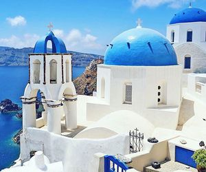 santorini, blue, and Greece image