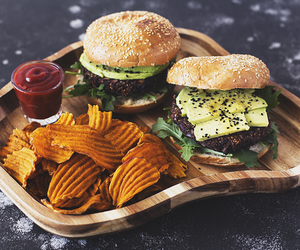chips, delicious, and hamburgers image