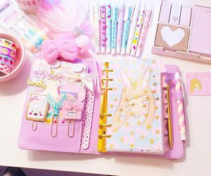 agenda, pastel colors, and pink image