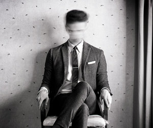 chair, confused, and man image