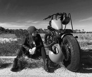 leather. biker girl image