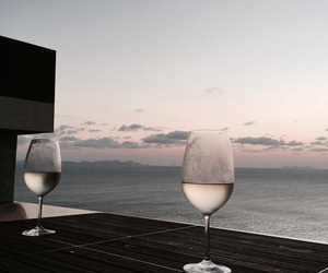 drink, wine, and sea image