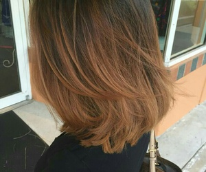 short straight brown hair and short straight ombre hair image