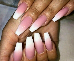 ombre nails, long ombre nails, and white & pink nails image