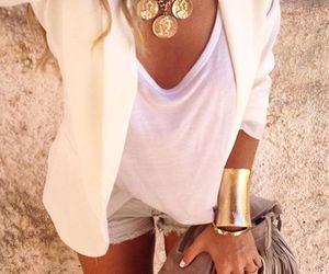 blazer, white blazer, and shorts image