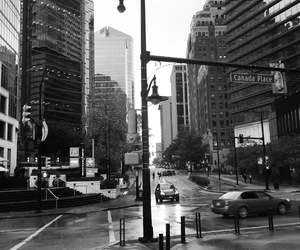 black and white, city, and skyscrapers image