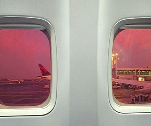 pink, travel, and airplane image