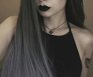 black lipstick, arm tattoos, and long straight silver hair image