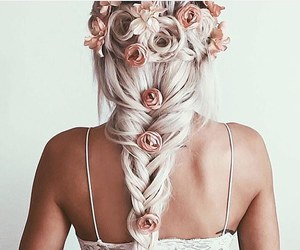 braid, girly, and flowers image