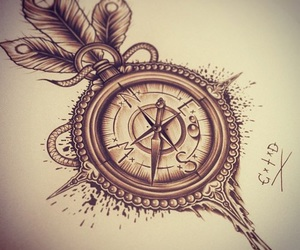 compass, tattoo, and drawing image