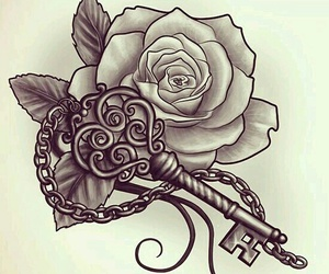 rose, tattoo, and key image