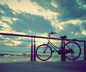 sky, bike, and bicycle image
