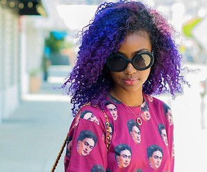 curls, hair, and purple image