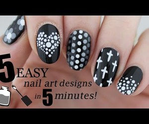 black and white, gradient, and nail art image