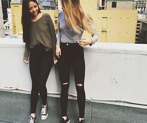 outfit, friends, and goals image