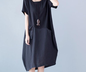 black dress, linen, and maxi dress image