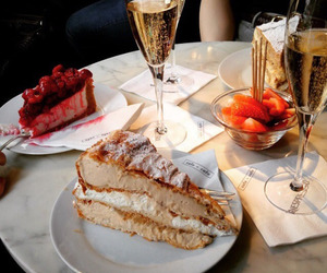 food, cake, and champagne image