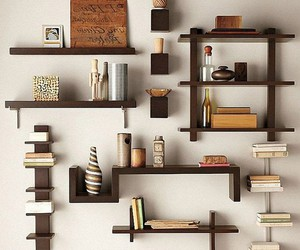 wall shelf, white shelves, and floating shelves image