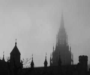 architecture, black and white, and dark image