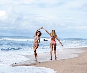 beach, Behati Prinsloo, and candice swanepoel image