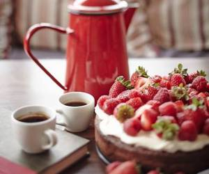 strawberry, cake, and coffee image