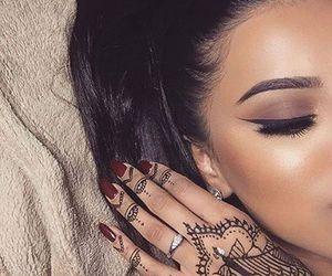 girl, henna, and makeup image