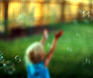 bubbles, child, and focus image