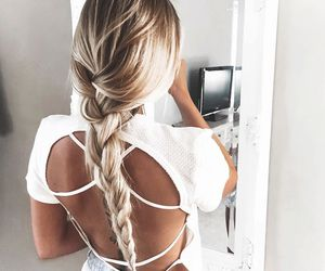 blonde hair, braided hair, and girl image
