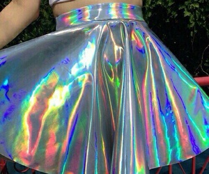gonna, holographic, and skirt image