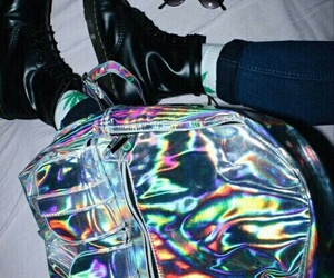 bag, holographic, and sunglasses image
