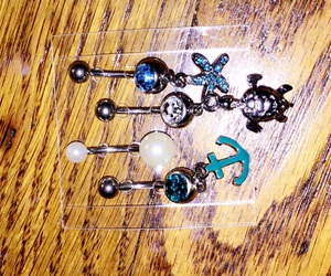 anchor, belly button ring, and piercing image