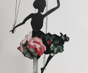 art, ballerina, and flower image