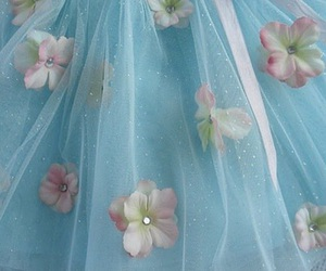 blue, tulle, and flowers image