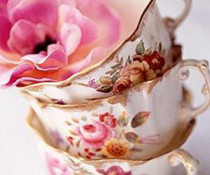 vintage, flower, and tea cups image