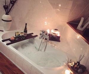 bath, night, and champagne image