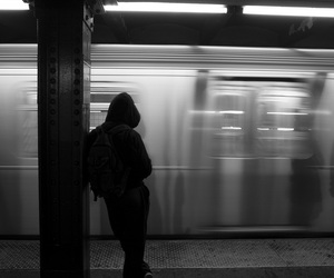 grunge, black and white, and train image