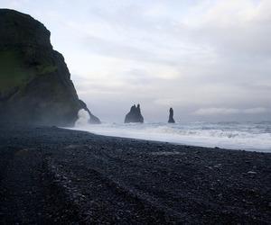 beach, cliff, and dark image