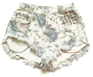 cool, high waist shorts, and studded image