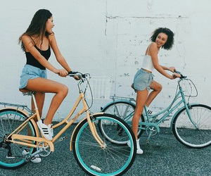 summer, girl, and bike image