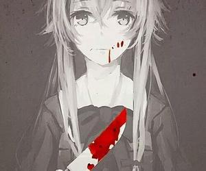 anime, mirai nikki, and blood image