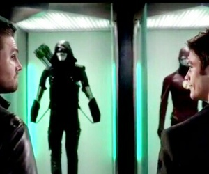 arrow, oliver queen, and barry allen image