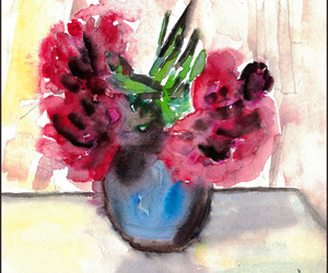 peonies, aquarell, and flowers image