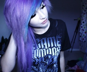 hair, emo, and purple image