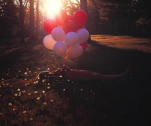 balloons, girl, and sun image