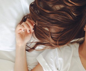 bed, brunette, and cozy image
